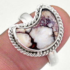 6.10cts solitaire natural wild horse magnesite silver moon ring size 9 t47653