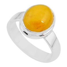 4.22cts solitaire natural yellow amber bone 925 silver ring size 7.5 t10514