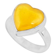4.51cts solitaire natural yellow amber bone heart 925 silver ring size 6 r51270