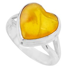 4.87cts solitaire natural yellow amber bone heart silver ring size 5.5 r51262