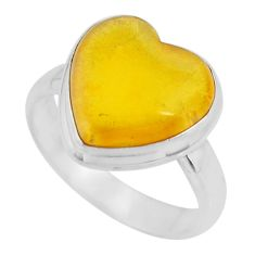 4.80cts solitaire natural yellow amber bone heart silver ring size 6.5 r51269
