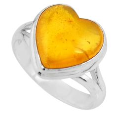 5.06cts solitaire natural yellow amber bone heart silver ring size 7.5 r51271