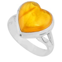 5.06cts solitaire natural yellow amber bone heart silver ring size 6.5 r51272