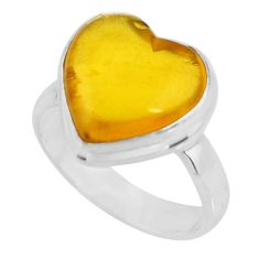 4.80cts solitaire natural yellow amber bone heart silver ring size 5.5 r51273