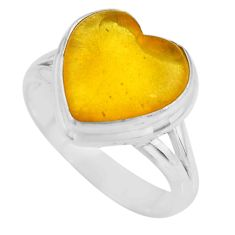 5.06cts solitaire natural yellow amber bone heart silver ring size 7.5 r51277