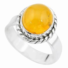 4.17cts solitaire natural yellow amber bone oval 925 silver ring size 7 t15407