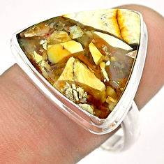 15.39cts solitaire natural yellow brecciated mookaite silver ring size 10 t54322