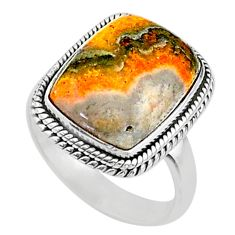 Solitaire natural yellow bumble bee australian jasper silver ring size 9 t15424