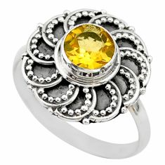 1.15cts solitaire natural yellow citrine 925 silver flower ring size 8 t43821
