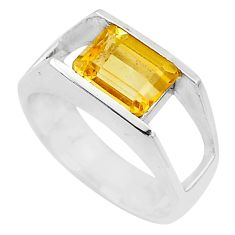 3.01cts solitaire natural yellow citrine 925 silver ring jewelry size 8.5 t10310