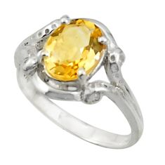 3.31cts solitaire natural yellow citrine 925 silver ring size 7.5 r41904