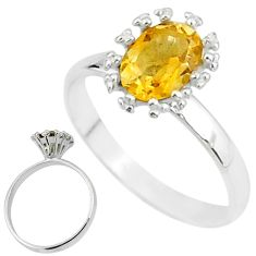 2.23cts solitaire natural yellow citrine 925 silver ring size 6.5 t12593