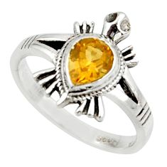 1.47cts solitaire natural yellow citrine 925 silver tortoise ring size 8 r40647