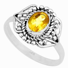 1.57cts solitaire natural yellow citrine 925 sterling silver ring size 6 r87321