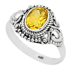 1.81cts solitaire natural yellow citrine 925 sterling silver ring size 6 t1402