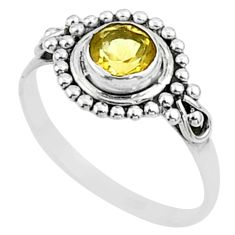 0.75cts solitaire natural yellow citrine 925 sterling silver ring size 6 t51951