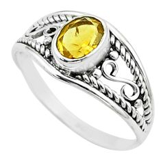 1.58cts solitaire natural yellow citrine 925 sterling silver ring size 6 t51990