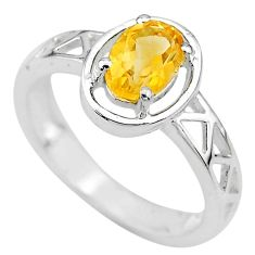1.51cts solitaire natural yellow citrine 925 sterling silver ring size 6 t8029