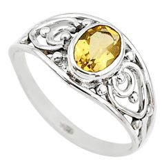 1.32cts natural yellow citrine 925 silver graduation handmade ring size 6 t9375