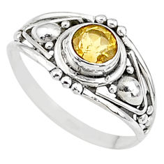 0.90cts natural yellow citrine 925 silver graduation handmade ring size 6 t9665