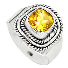 2.61cts solitaire natural yellow citrine 925 sterling silver ring size 7 t23250