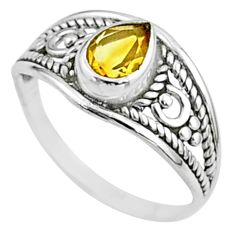 1.57cts solitaire natural yellow citrine 925 sterling silver ring size 7 t51993