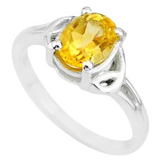 1.98cts solitaire natural yellow citrine 925 sterling silver ring size 7 t7980