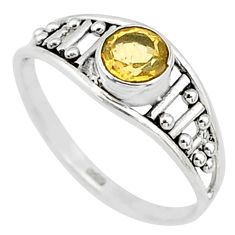 0.73cts natural yellow citrine 925 silver graduation handmade ring size 7 t9410