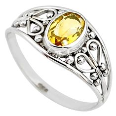 1.29cts natural yellow citrine 925 silver graduation handmade ring size 7 t9531