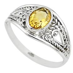 1.48cts natural yellow citrine 925 silver graduation handmade ring size 7 t9664
