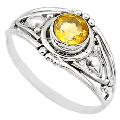0.75cts natural yellow citrine 925 silver graduation handmade ring size 7 t9698