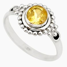 0.75cts solitaire natural yellow citrine 925 sterling silver ring size 8 r87318