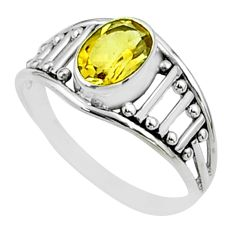 1.58cts solitaire natural yellow citrine 925 sterling silver ring size 8 t51925