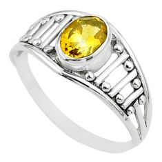 1.58cts solitaire natural yellow citrine 925 sterling silver ring size 8 t51983