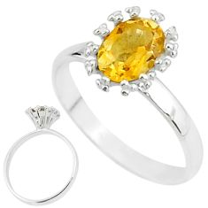 2.38cts solitaire natural yellow citrine 925 sterling silver ring size 8 t7219