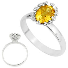 2.42cts solitaire natural yellow citrine 925 sterling silver ring size 8 t7221