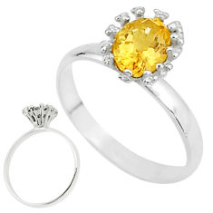 2.42cts solitaire natural yellow citrine 925 sterling silver ring size 8 t7251