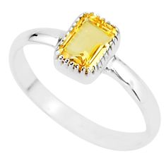 1.56cts solitaire natural yellow citrine 925 sterling silver ring size 8 t7416