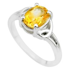 2.12cts solitaire natural yellow citrine 925 sterling silver ring size 8 t7951
