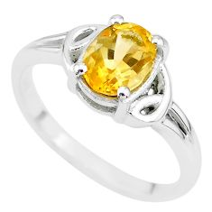 2.31cts solitaire natural yellow citrine 925 sterling silver ring size 8 t7981