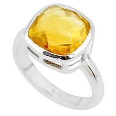 5.24cts solitaire natural yellow citrine 925 sterling silver ring size 8 t8189