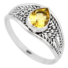 1.29cts natural yellow citrine 925 silver graduation handmade ring size 8 t9598