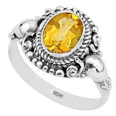 2.17cts solitaire natural yellow citrine 925 sterling silver ring size 9 t3969