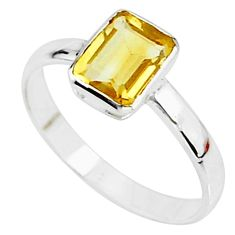 2.27cts solitaire natural yellow citrine 925 sterling silver ring size 8.5 t7268