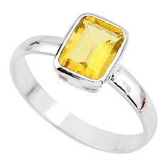 2.11cts solitaire natural yellow citrine 925 sterling silver ring size 8.5 t7270