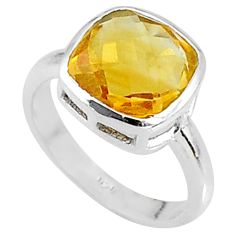 4.99cts solitaire natural yellow citrine 925 sterling silver ring size 6.5 t8196