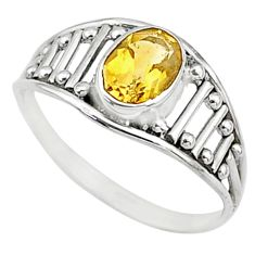 1.57cts natural yellow citrine silver graduation handmade ring size 6.5 t9449