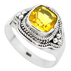 2.61cts solitaire natural yellow citrine cushion 925 silver ring size 8.5 t23263