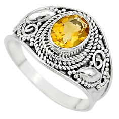 2.17cts solitaire natural yellow citrine oval 925 silver ring size 8.5 t10126