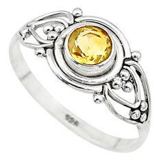 0.74cts natural yellow citrine round graduation handmade ring size 7 t9604
